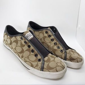 Coach Bev Slip-On Tan & Brown Sneakers Shoes